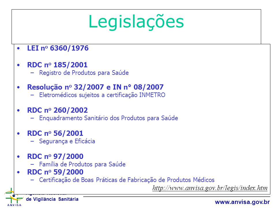 Legislações LEI no 6360/1976 RDC no 185/2001