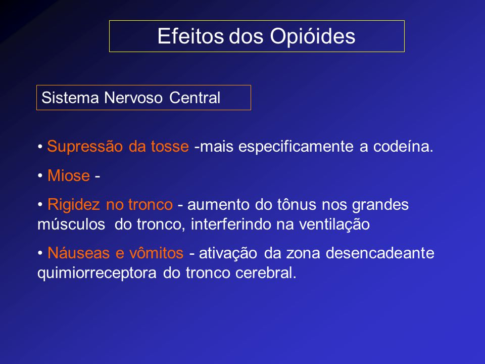 Efeitos dos Opióides Sistema Nervoso Central