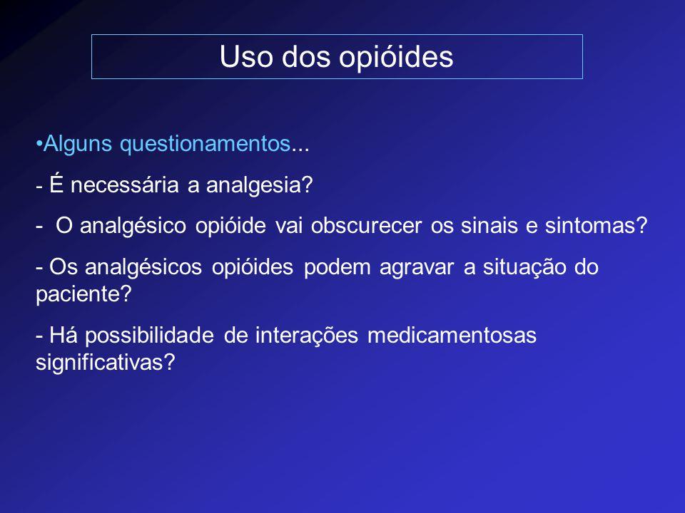 Uso dos opióides Alguns questionamentos... - É necessária a analgesia