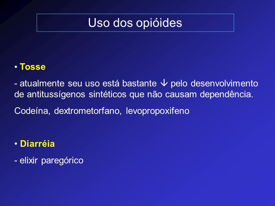 Uso dos opióides Tosse. - atualmente seu uso está bastante  pelo desenvolvimento de antitussígenos sintéticos que não causam dependência.