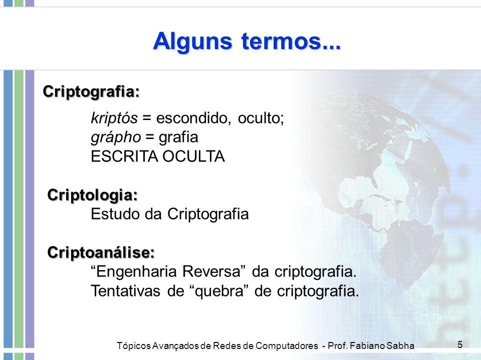 Alguns termos... Criptografia: kriptós = escondido, oculto;