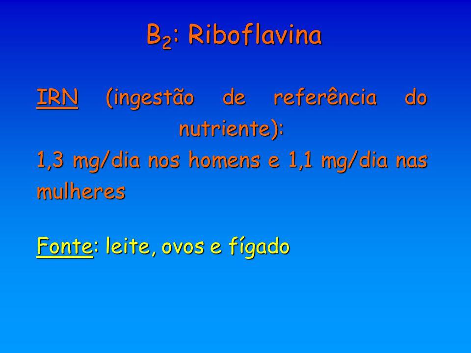 B2: Riboflavina IRN (ingestão de referência do nutriente): 1,3 mg/dia nos homens e 1,1 mg/dia nas mulheres.