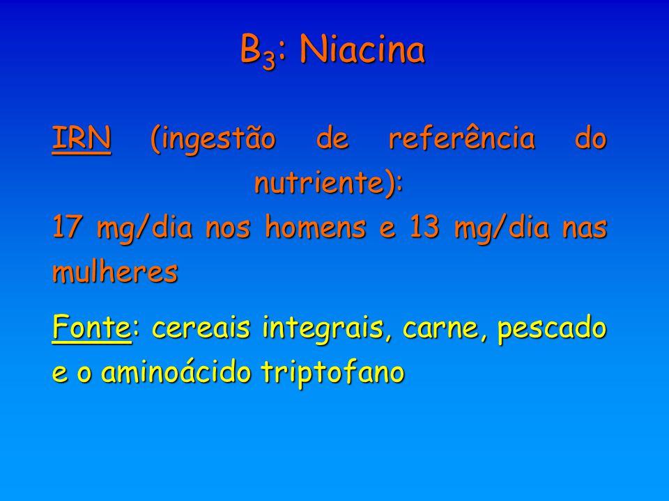 B3: Niacina IRN (ingestão de referência do nutriente): 17 mg/dia nos homens e 13 mg/dia nas mulheres.