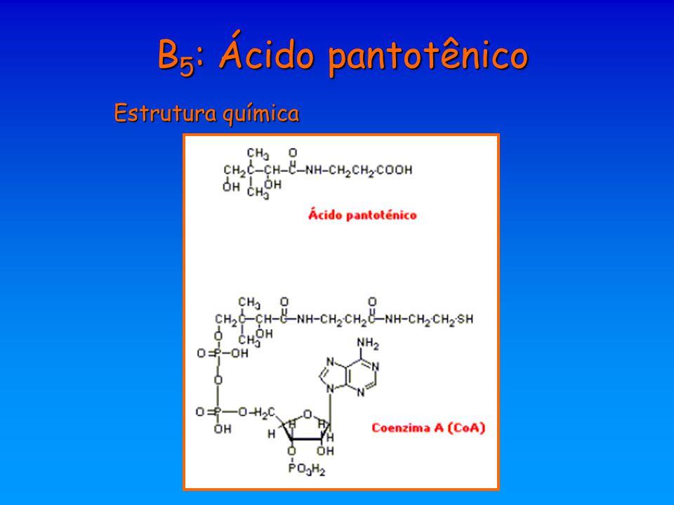 B5: Ácido pantotênico Estrutura química