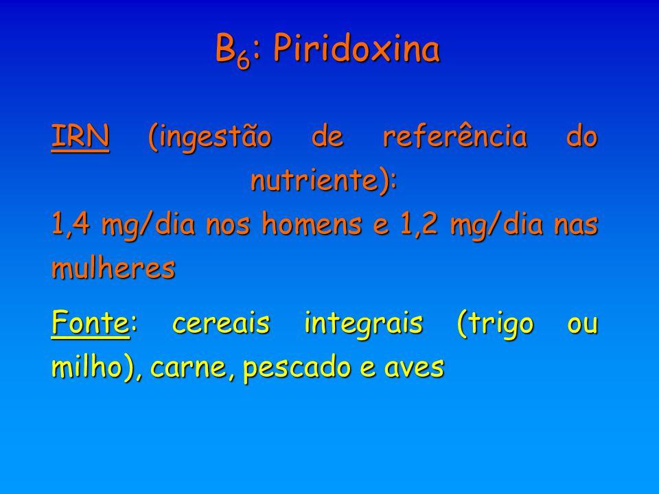 B6: Piridoxina IRN (ingestão de referência do nutriente): 1,4 mg/dia nos homens e 1,2 mg/dia nas mulheres.