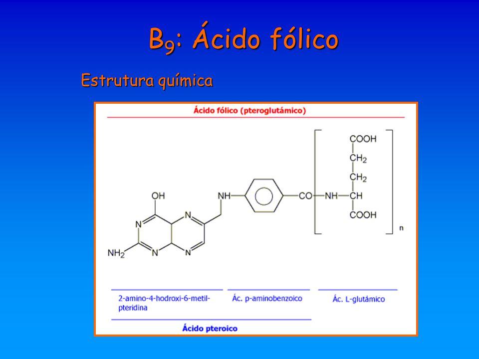 B9: Ácido fólico Estrutura química
