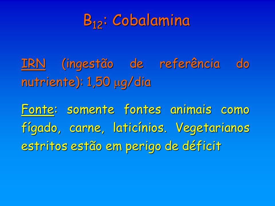 B12: Cobalamina IRN (ingestão de referência do nutriente): 1,50 g/dia