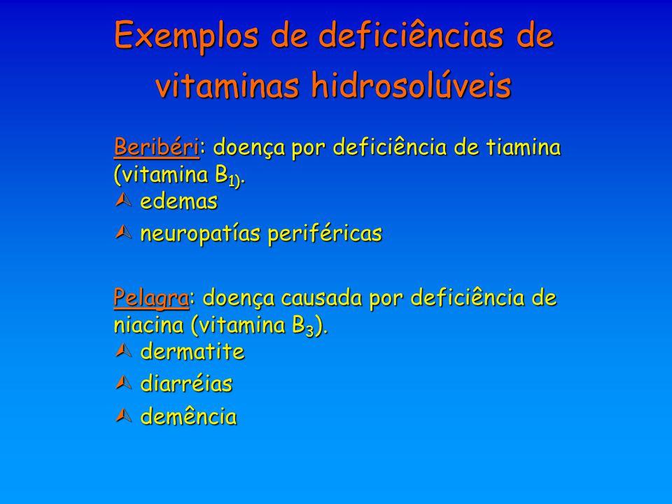 Exemplos de deficiências de vitaminas hidrosolúveis