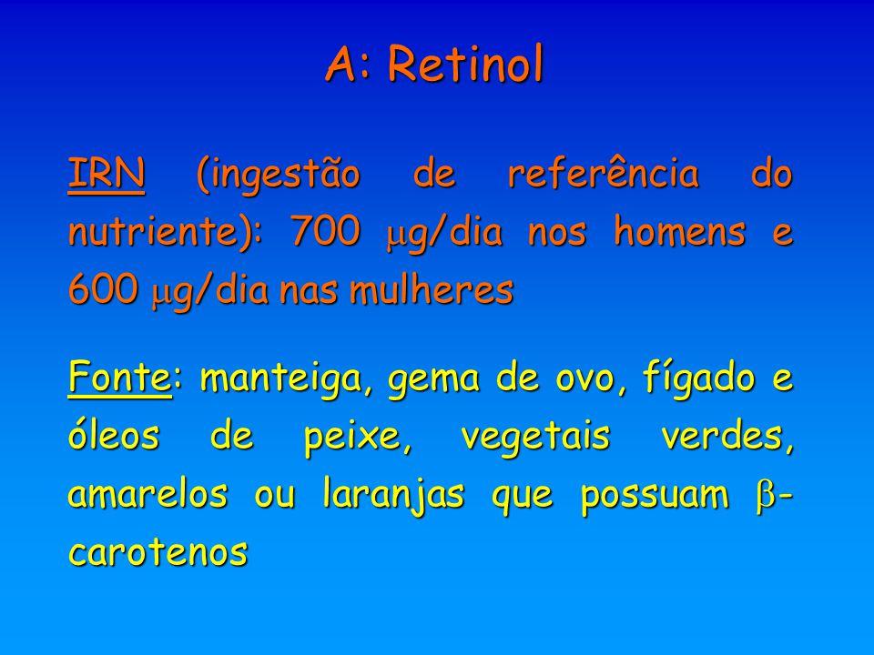 A: Retinol IRN (ingestão de referência do nutriente): 700 g/dia nos homens e 600 g/dia nas mulheres.