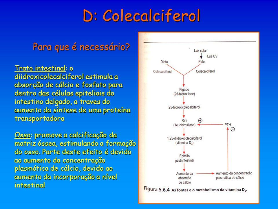 D: Colecalciferol Para que é necessário