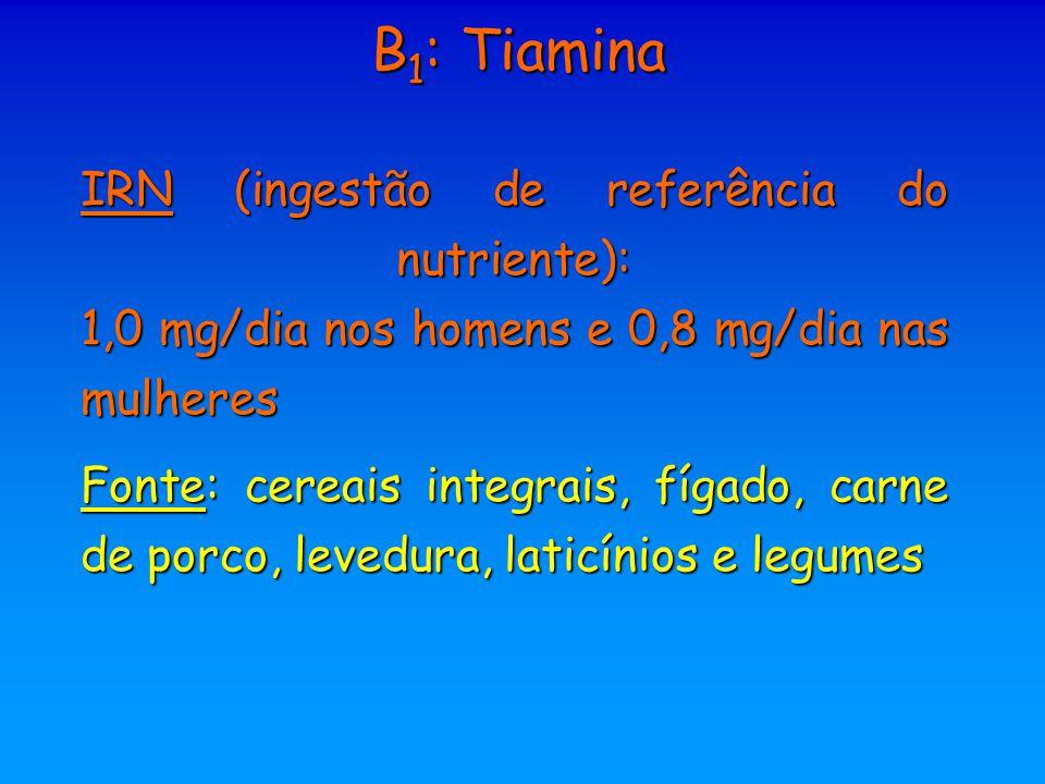 B1: Tiamina IRN (ingestão de referência do nutriente): 1,0 mg/dia nos homens e 0,8 mg/dia nas mulheres.