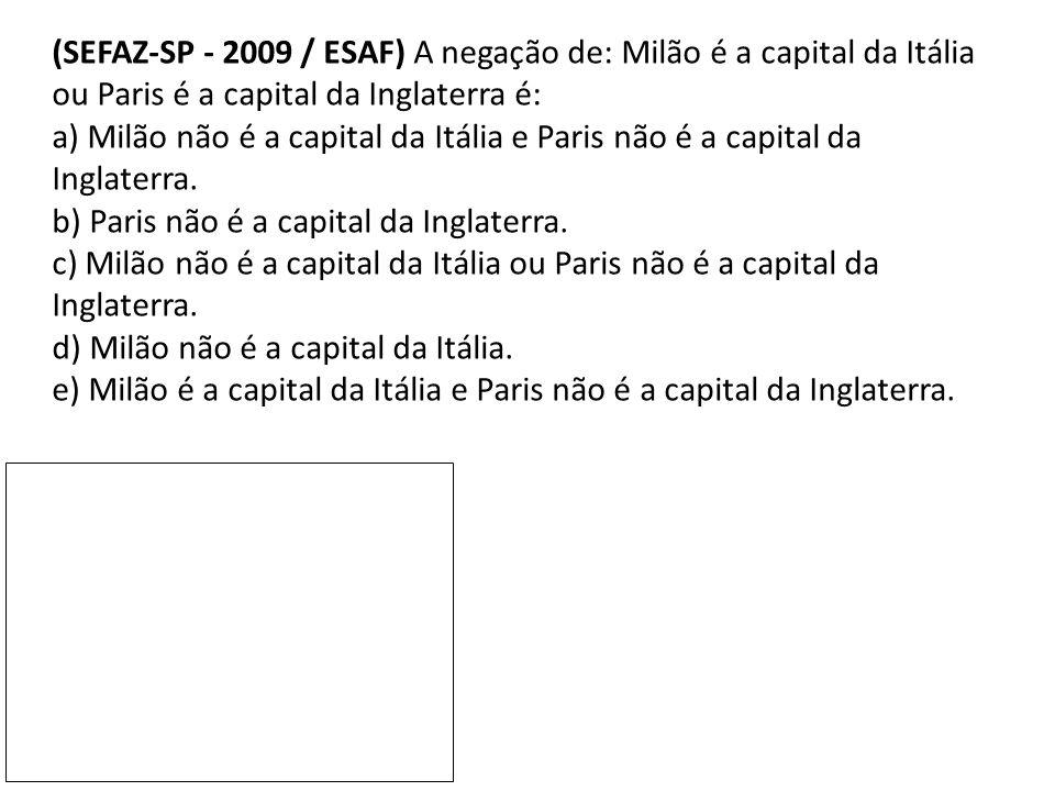 (SEFAZ-SP - 2009 / ESAF) A negação de: Milão é a capital da Itália ou Paris é a capital da Inglaterra é: