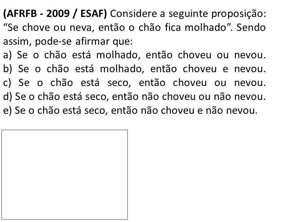 (AFRFB - 2009 / ESAF) Considere a seguinte proposição: Se chove ou neva, então o chão fica molhado . Sendo assim, pode-se afirmar que: