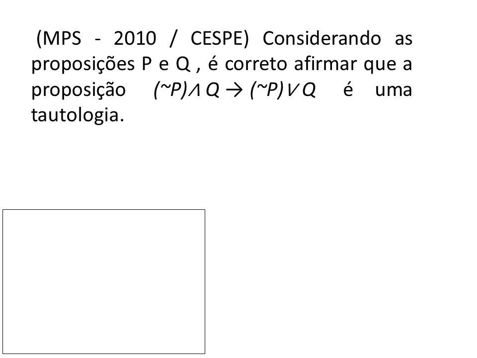 (MPS - 2010 / CESPE) Considerando as proposições P e Q , é correto afirmar que a proposição (~P)∧ Q → (~P)∨ Q é uma tautologia.