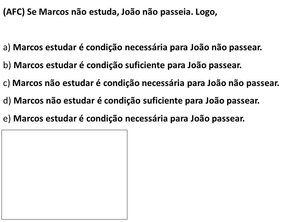 (AFC) Se Marcos não estuda, João não passeia