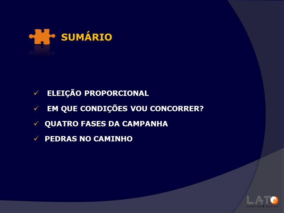 SUMÁRIO ELEIÇÃO PROPORCIONAL EM QUE CONDIÇÕES VOU CONCORRER