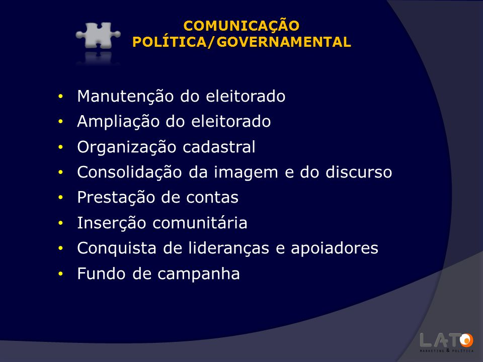 COMUNICAÇÃO POLÍTICA/GOVERNAMENTAL