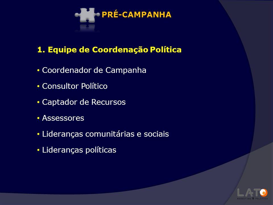 PRÉ-CAMPANHA 1. Equipe de Coordenação Política. Coordenador de Campanha. Consultor Político. Captador de Recursos.