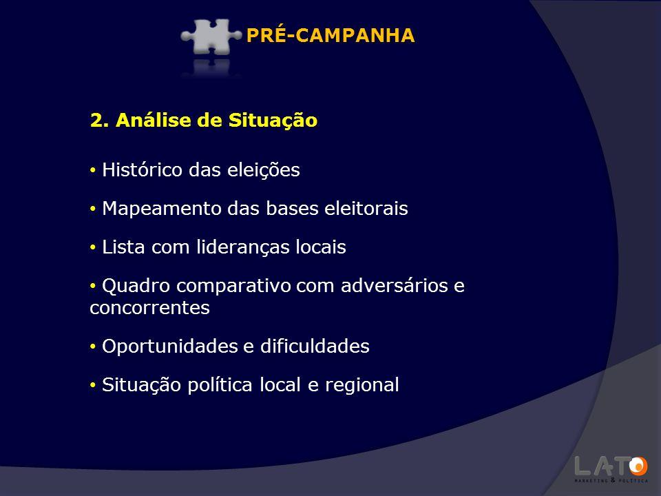 PRÉ-CAMPANHA 2. Análise de Situação. Histórico das eleições. Mapeamento das bases eleitorais. Lista com lideranças locais.