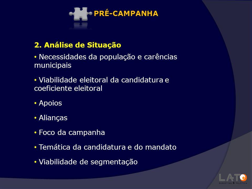 PRÉ-CAMPANHA 2. Análise de Situação. Necessidades da população e carências municipais.