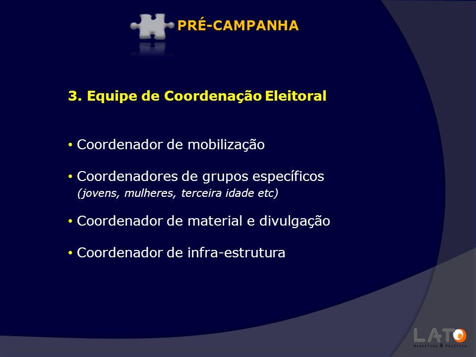 PRÉ-CAMPANHA 3. Equipe de Coordenação Eleitoral. Coordenador de mobilização. Coordenadores de grupos específicos.