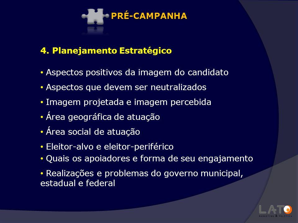 PRÉ-CAMPANHA 4. Planejamento Estratégico. Aspectos positivos da imagem do candidato. Aspectos que devem ser neutralizados.