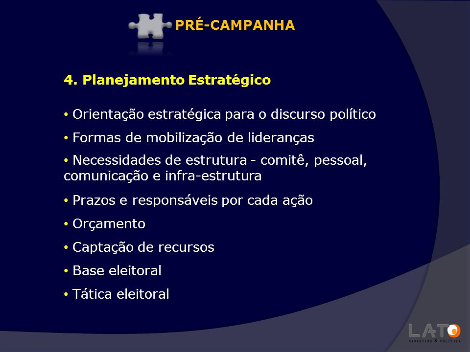 PRÉ-CAMPANHA 4. Planejamento Estratégico. Orientação estratégica para o discurso político. Formas de mobilização de lideranças.