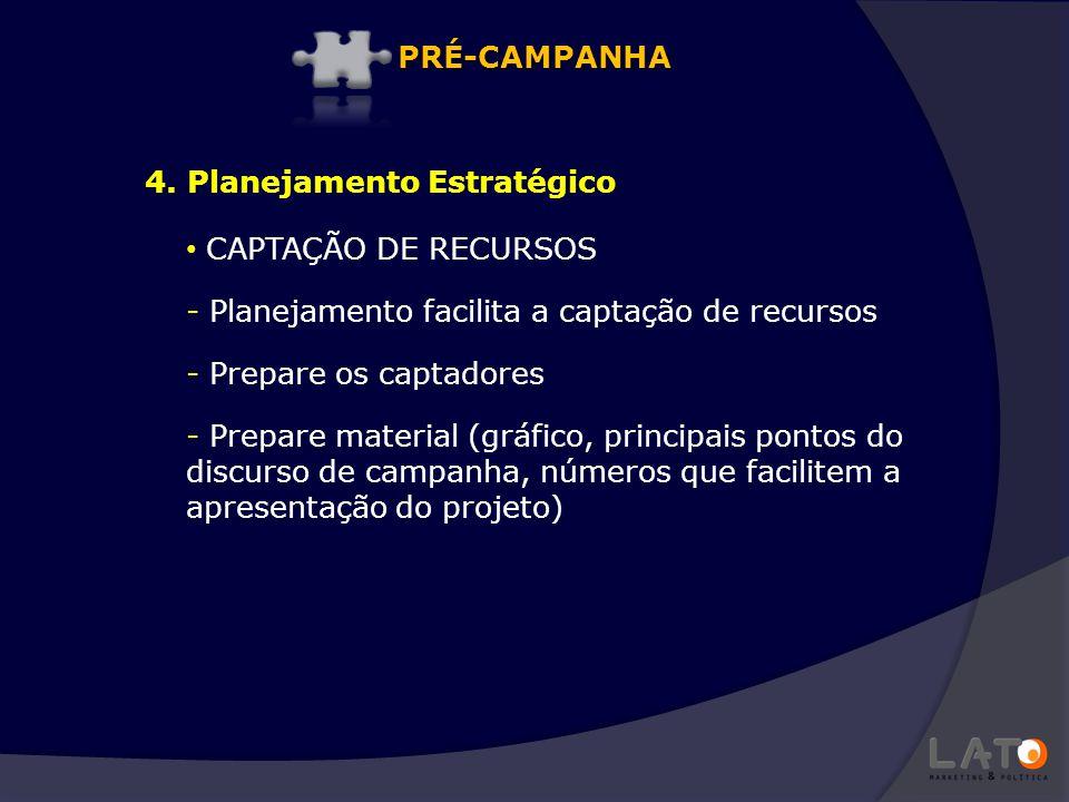 PRÉ-CAMPANHA 4. Planejamento Estratégico. CAPTAÇÃO DE RECURSOS. Planejamento facilita a captação de recursos.