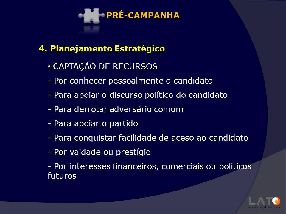 PRÉ-CAMPANHA 4. Planejamento Estratégico. CAPTAÇÃO DE RECURSOS. Por conhecer pessoalmente o candidato.