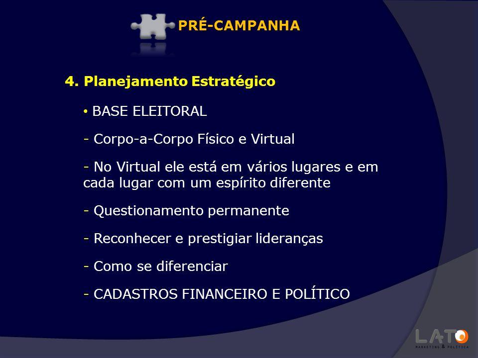 PRÉ-CAMPANHA 4. Planejamento Estratégico. BASE ELEITORAL. Corpo-a-Corpo Físico e Virtual.