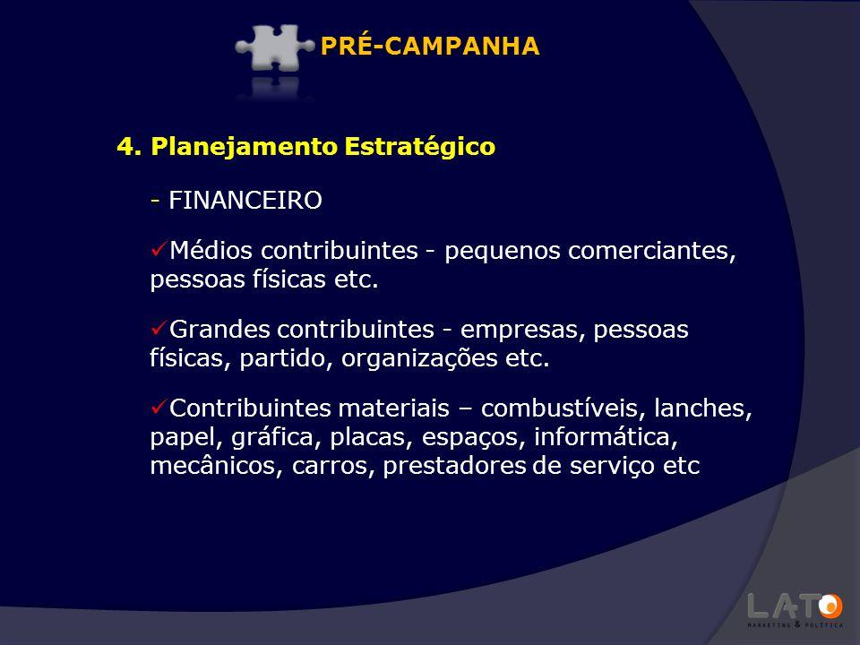 PRÉ-CAMPANHA 4. Planejamento Estratégico. FINANCEIRO. Médios contribuintes - pequenos comerciantes, pessoas físicas etc.