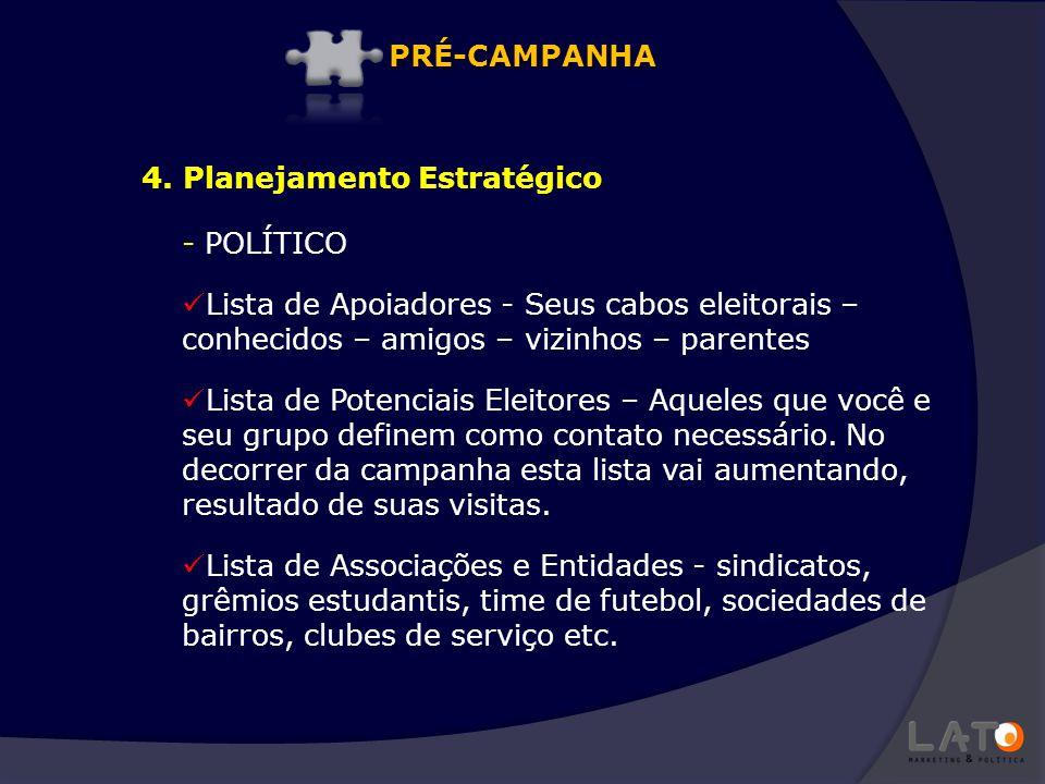 PRÉ-CAMPANHA 4. Planejamento Estratégico. POLÍTICO. Lista de Apoiadores - Seus cabos eleitorais – conhecidos – amigos – vizinhos – parentes.