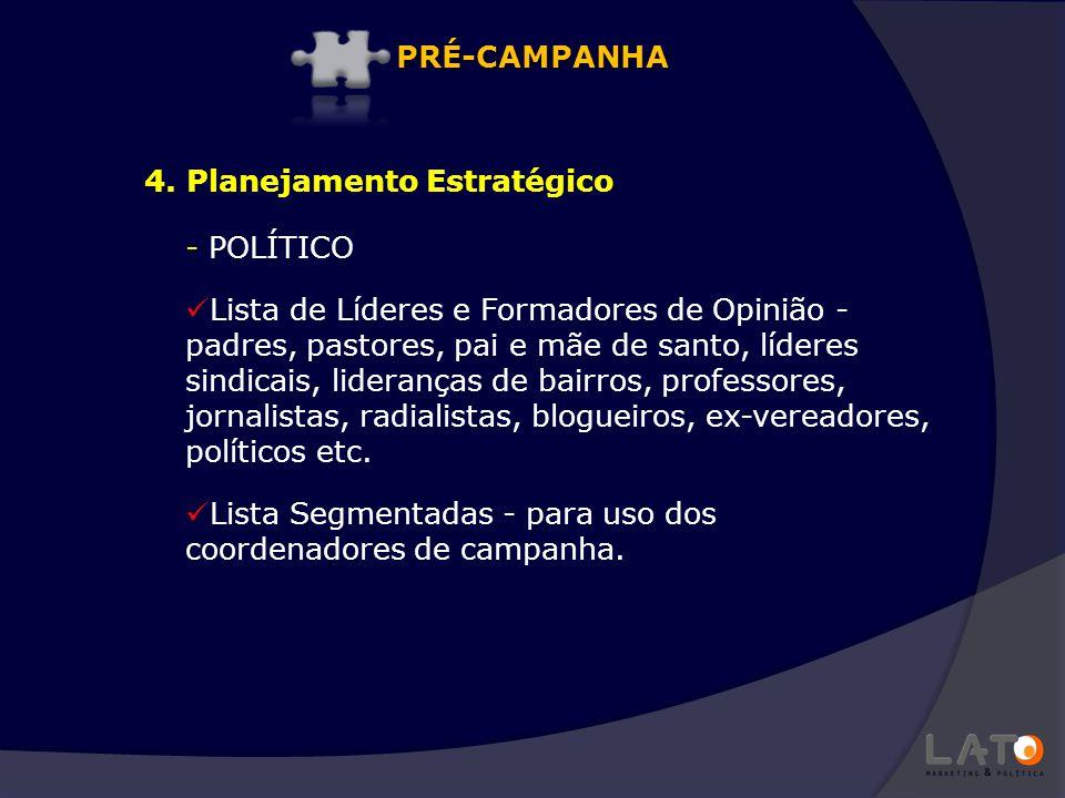 PRÉ-CAMPANHA 4. Planejamento Estratégico. POLÍTICO.