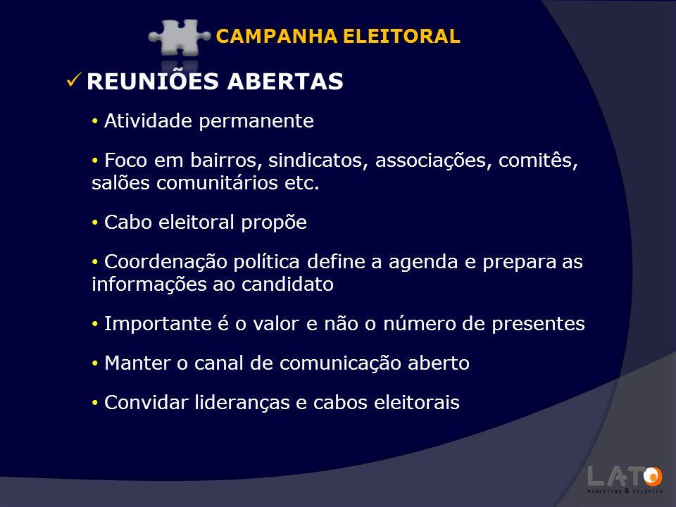 REUNIÕES ABERTAS CAMPANHA ELEITORAL Atividade permanente