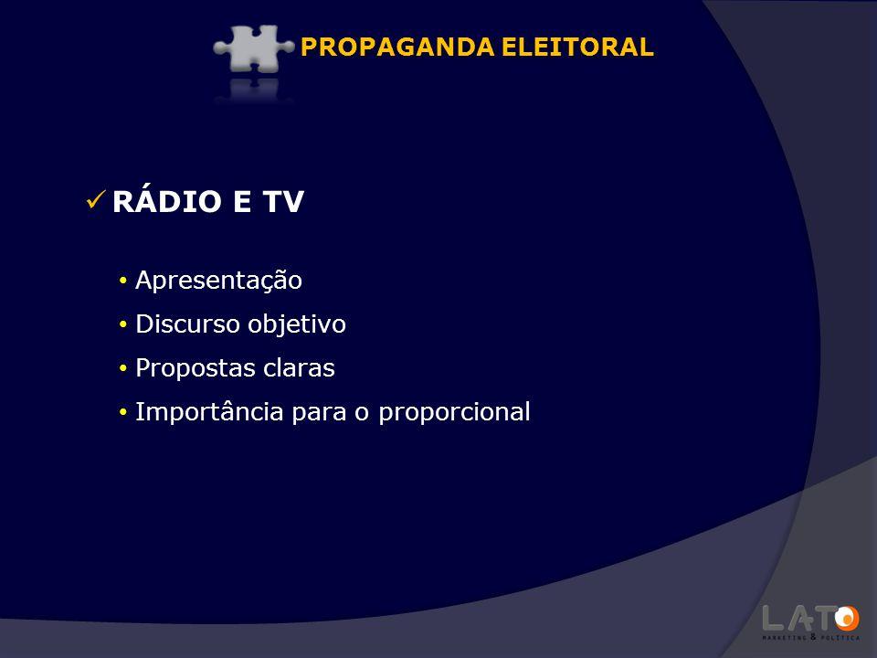 RÁDIO E TV PROPAGANDA ELEITORAL Apresentação Discurso objetivo