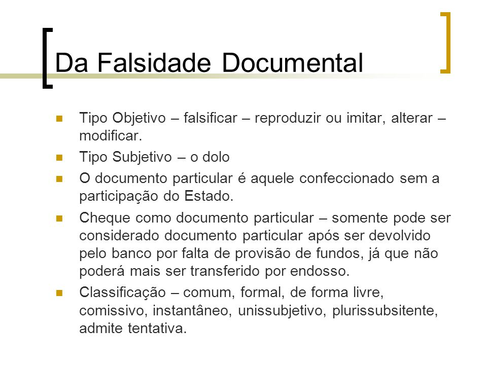 Da Falsidade Documental