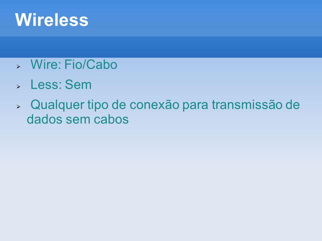 Wireless Wire: Fio/Cabo Less: Sem