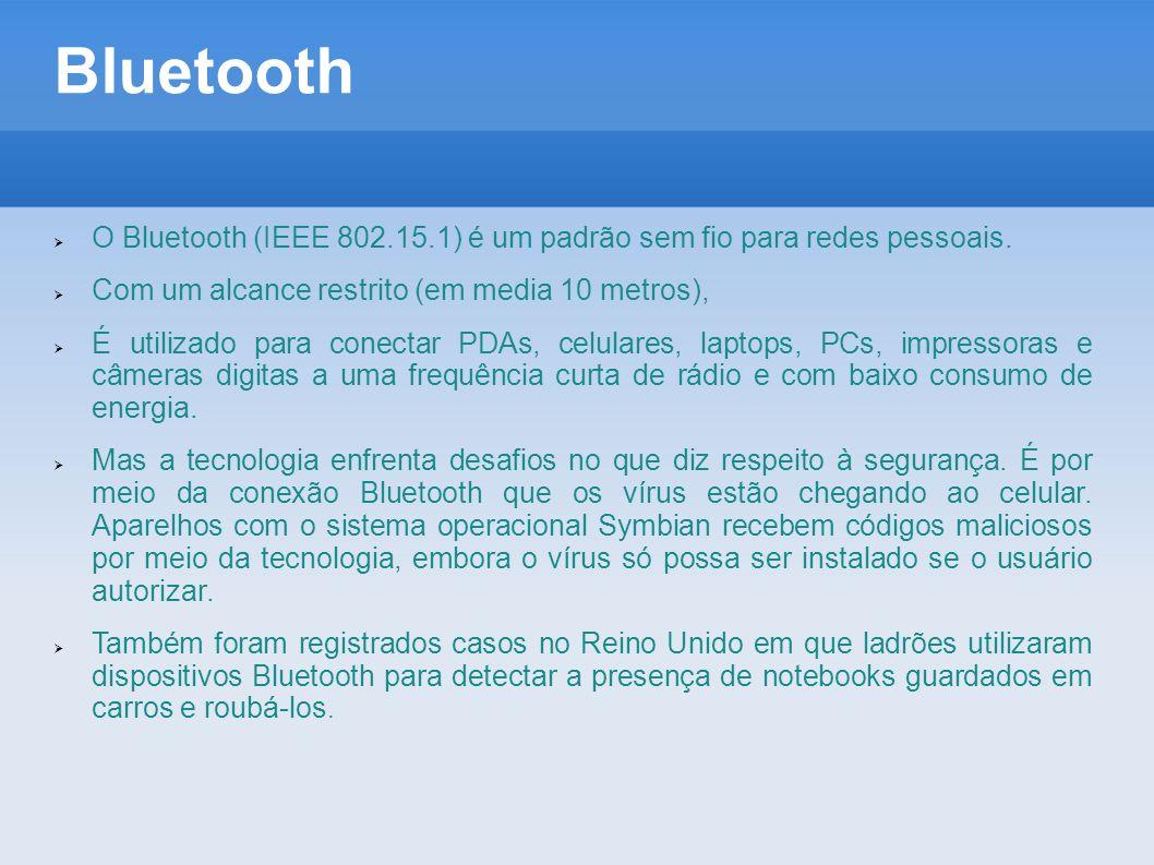 Bluetooth O Bluetooth (IEEE 802.15.1) é um padrão sem fio para redes pessoais. Com um alcance restrito (em media 10 metros),