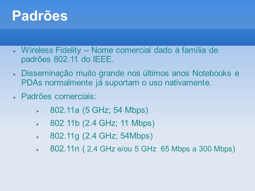 Padrões Wireless Fidelity – Nome comercial dado à família de padrões 802.11 do IEEE.