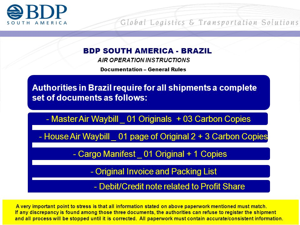 Authorities in Brazil require for all shipments a complete