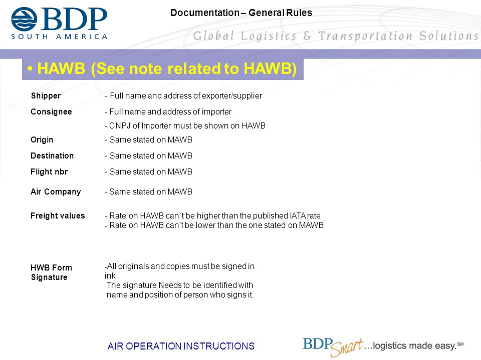 • HAWB (See note related to HAWB)