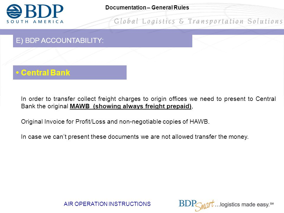 • Central Bank E) BDP ACCOUNTABILITY: