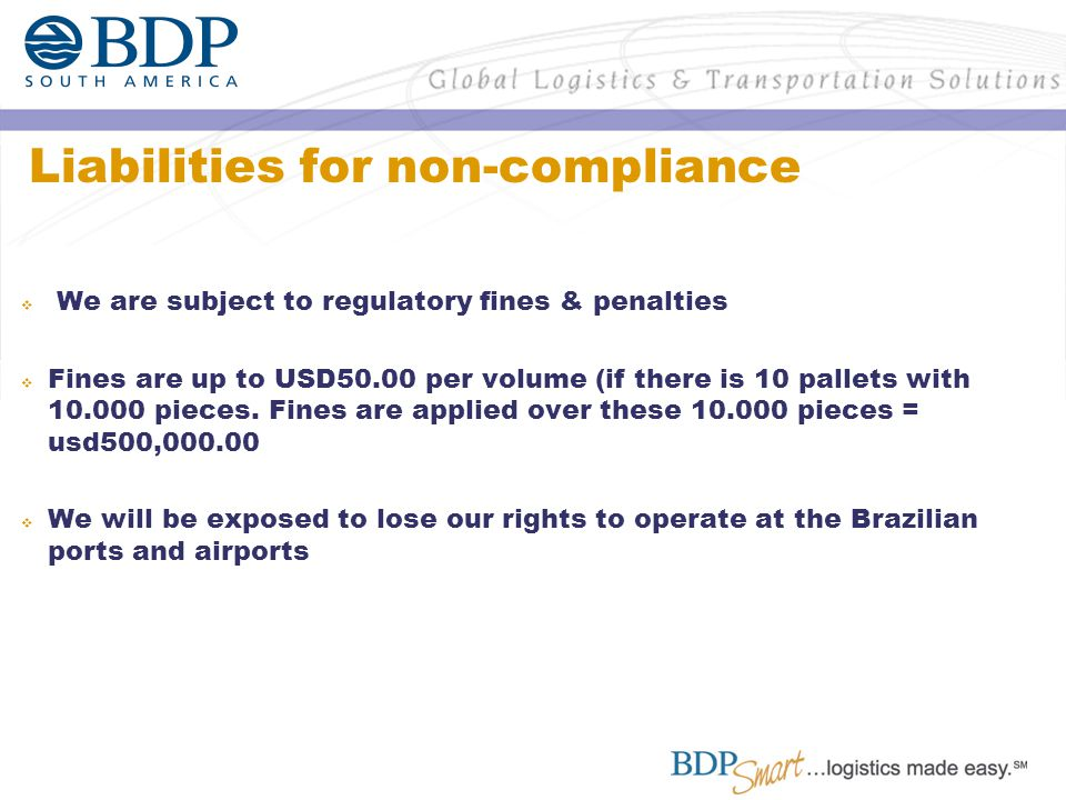 Liabilities for non-compliance