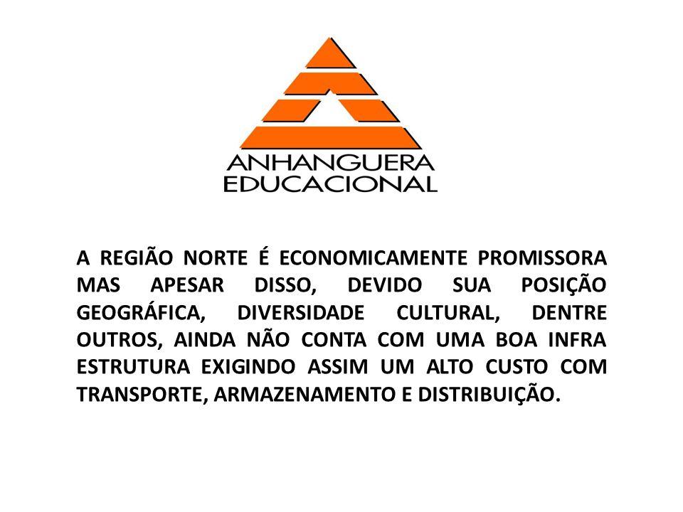 A REGIÃO NORTE É ECONOMICAMENTE PROMISSORA MAS APESAR DISSO, DEVIDO SUA POSIÇÃO GEOGRÁFICA, DIVERSIDADE CULTURAL, DENTRE OUTROS, AINDA NÃO CONTA COM UMA BOA INFRA ESTRUTURA EXIGINDO ASSIM UM ALTO CUSTO COM TRANSPORTE, ARMAZENAMENTO E DISTRIBUIÇÃO.