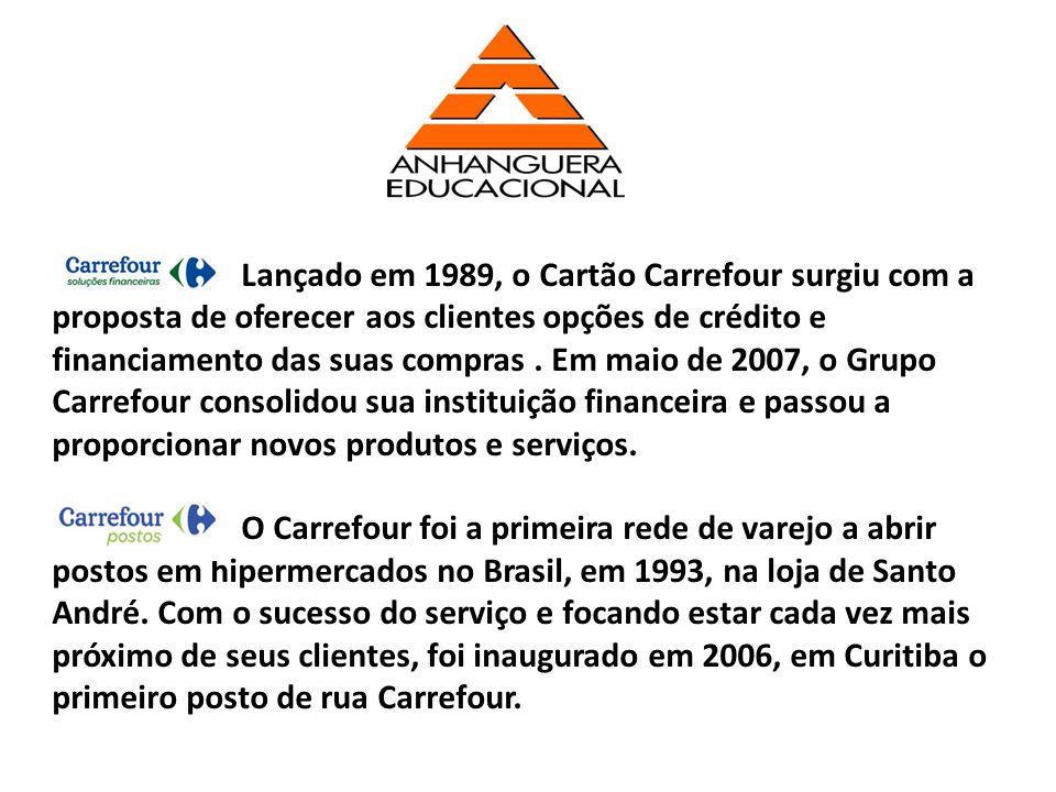 Lançado em 1989, o Cartão Carrefour surgiu com a proposta de oferecer aos clientes opções de crédito e financiamento das suas compras . Em maio de 2007, o Grupo Carrefour consolidou sua instituição financeira e passou a proporcionar novos produtos e serviços.