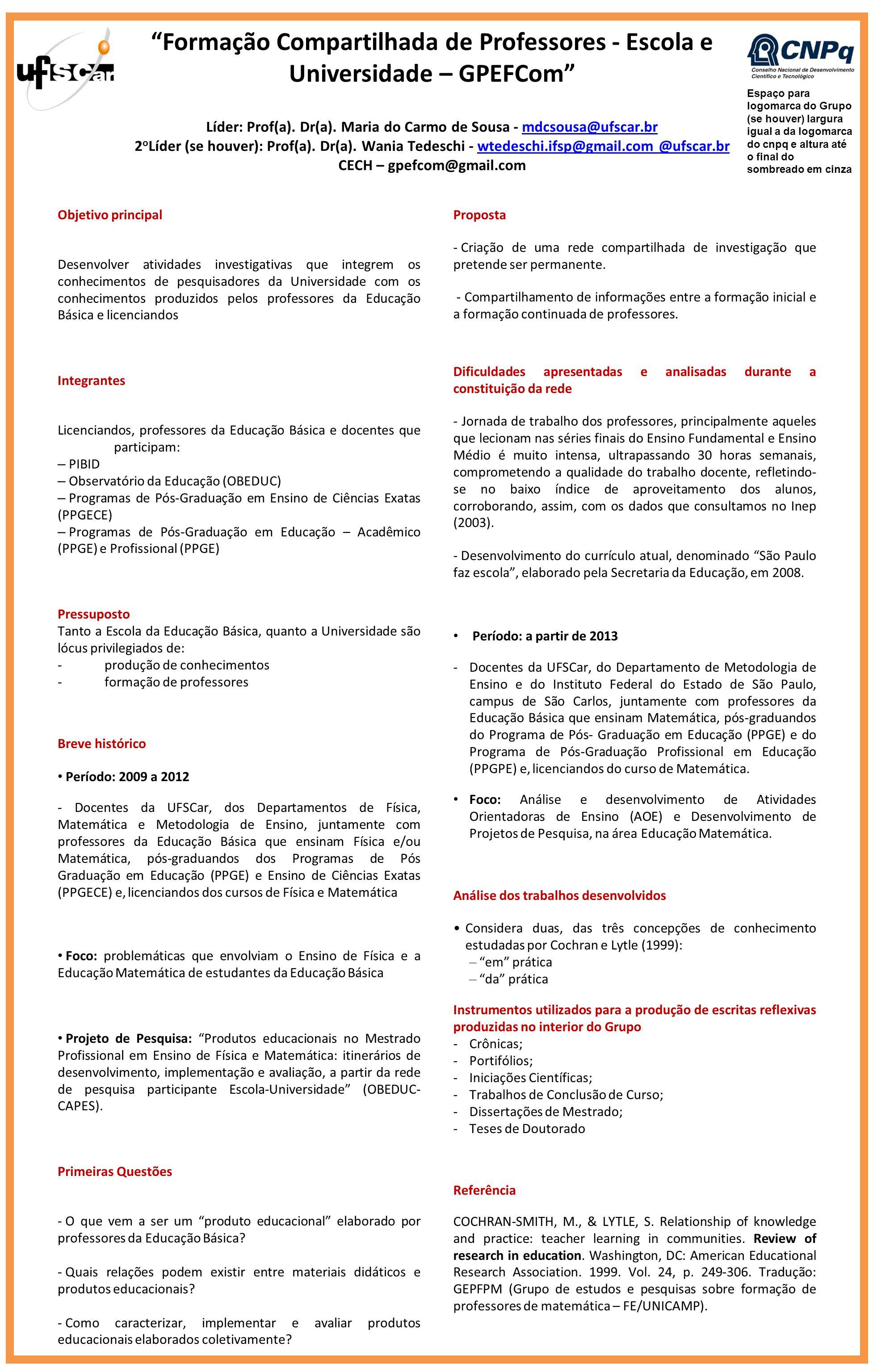 Formação Compartilhada de Professores - Escola e Universidade – GPEFCom