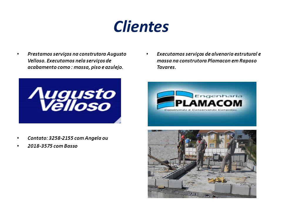 Clientes Prestamos serviços na construtora Augusto Velloso. Executamos nela serviços de acabamento como : massa, piso e azulejo.