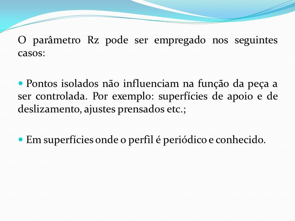 O parâmetro Rz pode ser empregado nos seguintes casos: