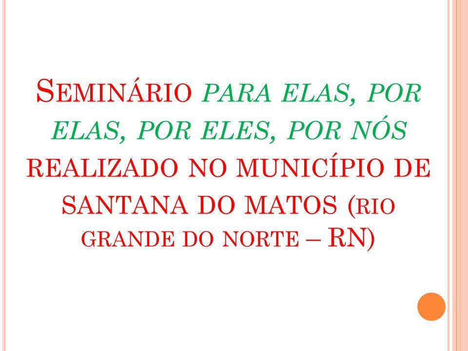 Seminário para elas, por elas, por eles, por nós realizado no município de santana do matos (rio grande do norte – RN)