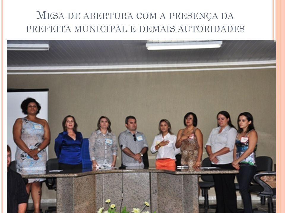 Mesa de abertura com a presença da prefeita municipal e demais autoridades